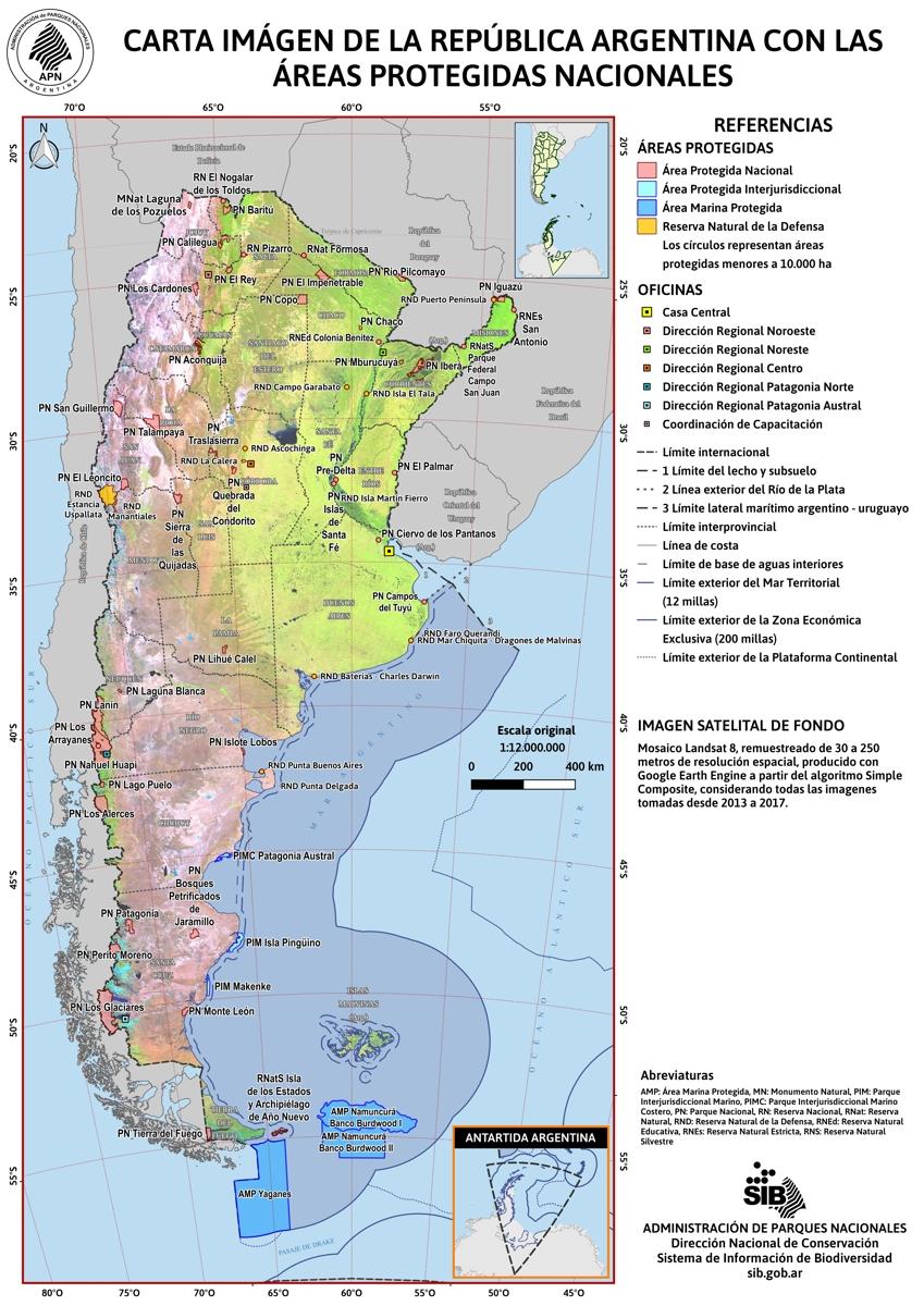 Carta Imagen de la República Argentina con las Áreas Protegidas Nacionales
